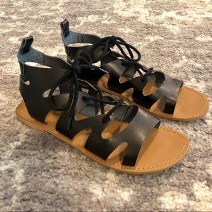 GAP Factory Lace Up Gladiator Sandals Black